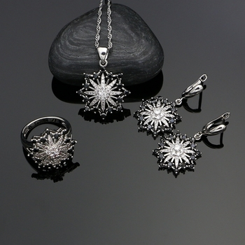 Bowknot 925 Silver Jewelry Black CZ White Crystal Jewelry Sets For Women Party Earrings With Stone Pendant/Rings/Necklace Set sa silverage silver set 925 black stone star necklace and earrings set for female women pure silver jewelry s925 birthday gift