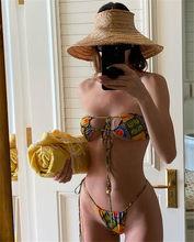 2020 сексуальное бикини Hollow сплошной купальник костюм бандажный купальник пуш-ап купальник, Monikinis из двух частей низкой талией стринги пляжна...