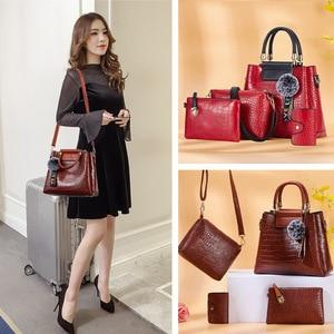 Image 2 - FUNMARDI 4PS komplet torebek damskich luksusowe krokodyl kobiece torebki PU skórzane torby na ramię marki torby kompozytowe Crossbody WLHB2024