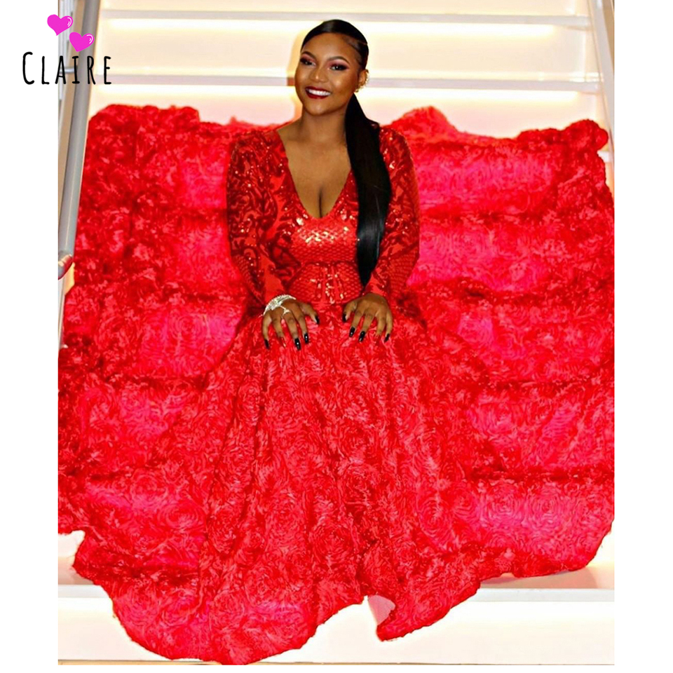 US $326.0 |Plus Size Red Prom Dresses For Black Girls Mermaid Deep V Neck  Long Sleeves Formal Dress 3D Flowers Evening Gowns CP144 on Aliexpress.com  | ...
