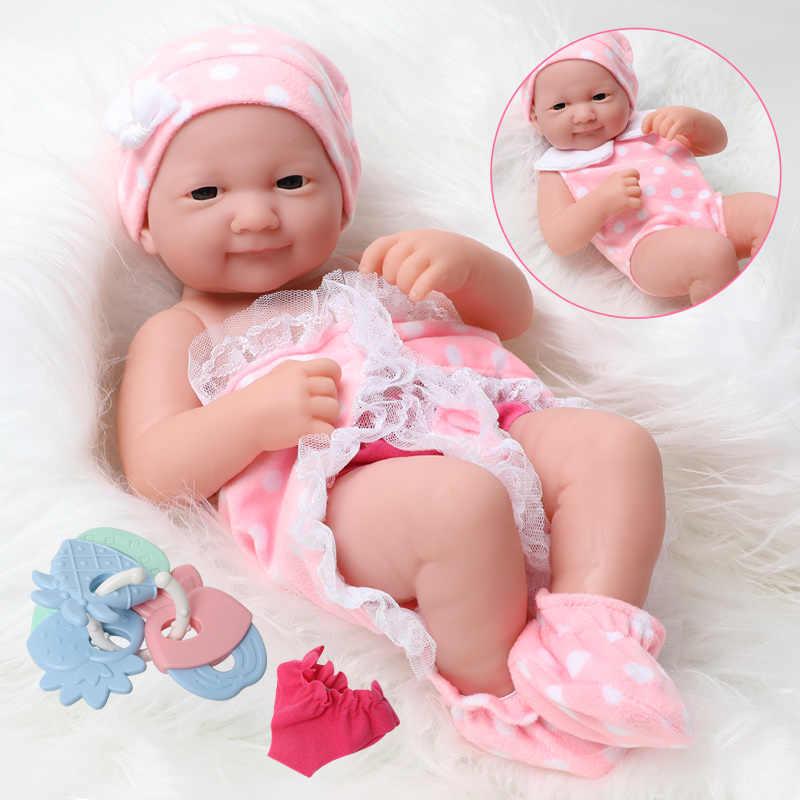 ทารกแรกเกิดRebornตุ๊กตา 33 ซม.สมจริงซิลิโคนBebe Bodyกันน้ำการจำลองเสื้อผ้าผลไม้Rattleชุดสำหรับของเล่นเด็ก