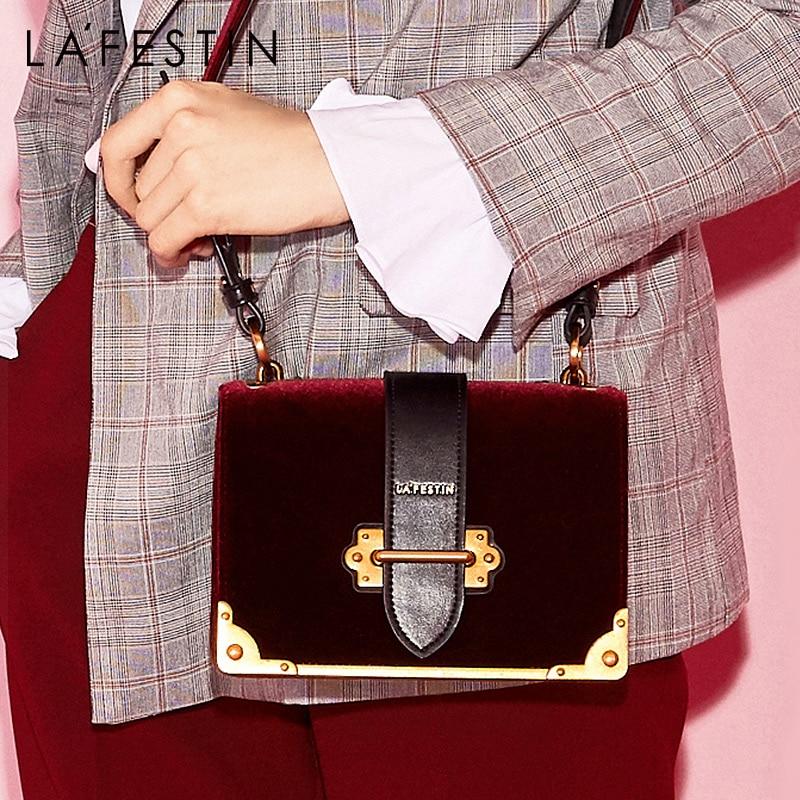 LAFESTIN Women Shoulder Bag Velvet Handbag Brands 2018 Design Luxury Famous Designer Crossbody Bag Bolsa Feminina