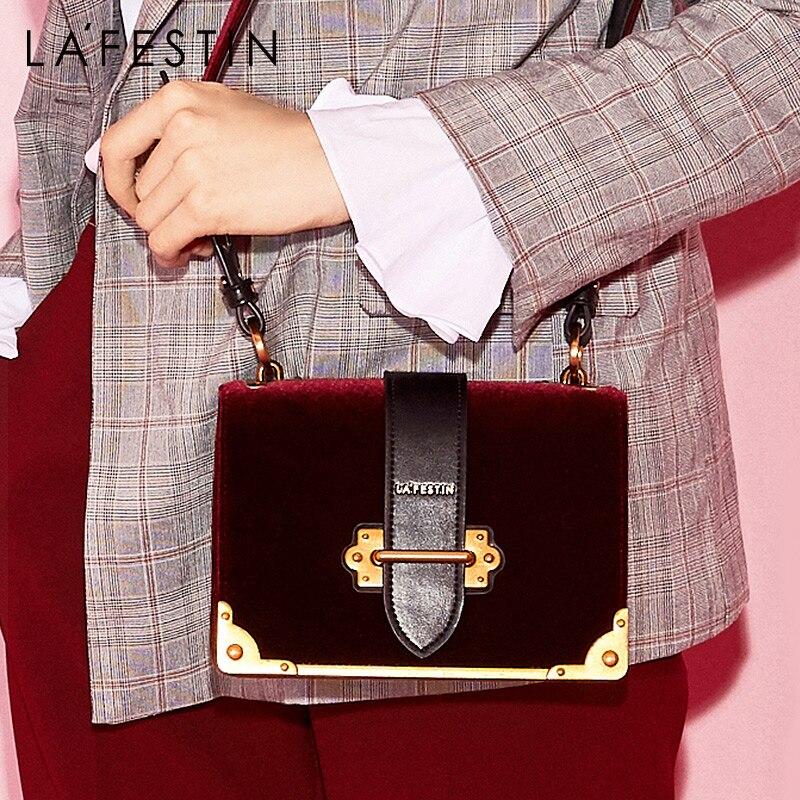 LAFESTIN Women Shoulder Bag Velvet Handbag Brands 2018 Design Luxury Famous Designer Crossbody Bag Bolsa Feminina High Quality-in Shoulder Bags from Luggage & Bags    1