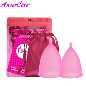 Image 4 - Coletor Menstrual 2Pcs Medical Grade Silicone Hygiene Menstrual Cups Lady Menstrual Cup Mestrual Aneercare Coupe Menstruell S+L