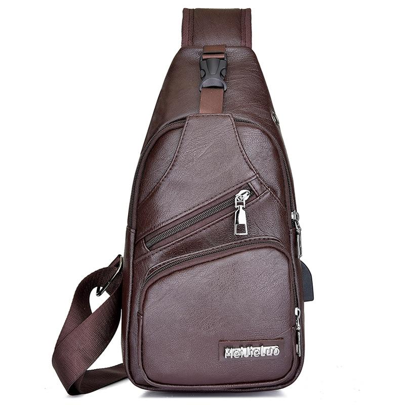 Нагрудная сумка мужская из искусственной кожи нагрудная сумка USB с отверстием для наушников функциональный органайзер для путешествий