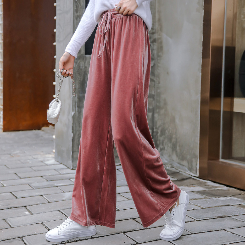 Wide Leg   Pants   Women Velour Long   Pant   Autumn High Waist Trousers Lady Stylish Casual Strappy   Capris   Bling Bottoms