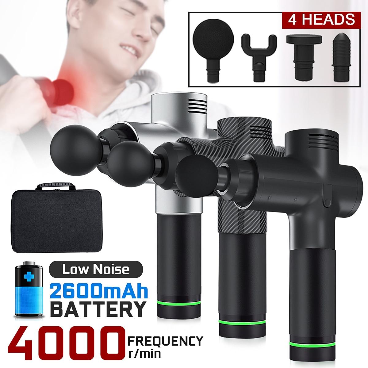4000r/min thérapie pistolets de Massage 3 vitesses masseur musculaire douleur Sport Machine de Massage Relax corps minceur soulagement 4 têtes avec sac
