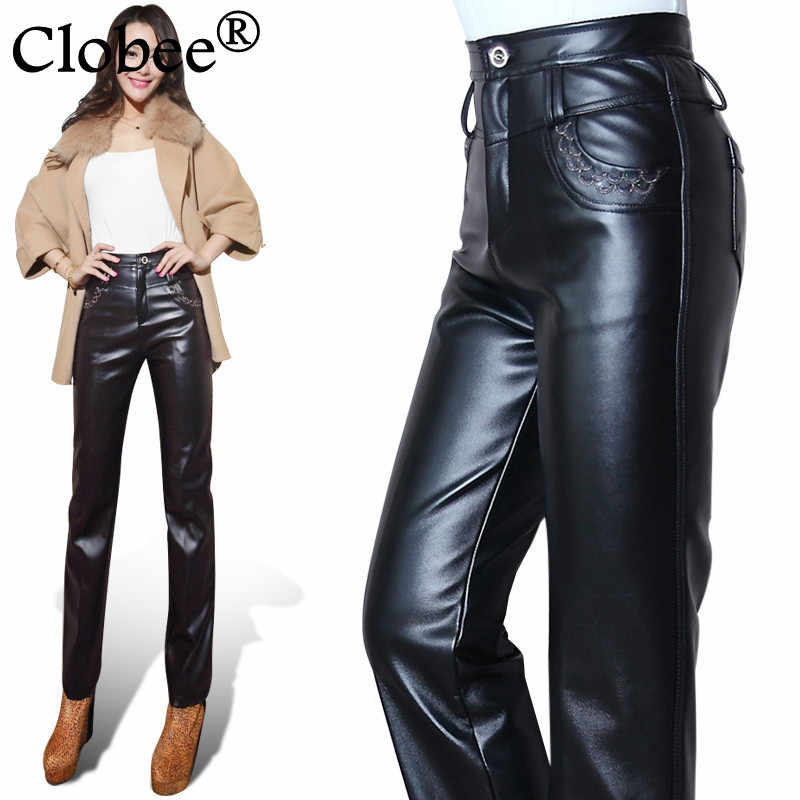 Leather Pants female Women Autumn And Winter Trousers pantalon taille haute femme large size women Capris vintage clothes CP35