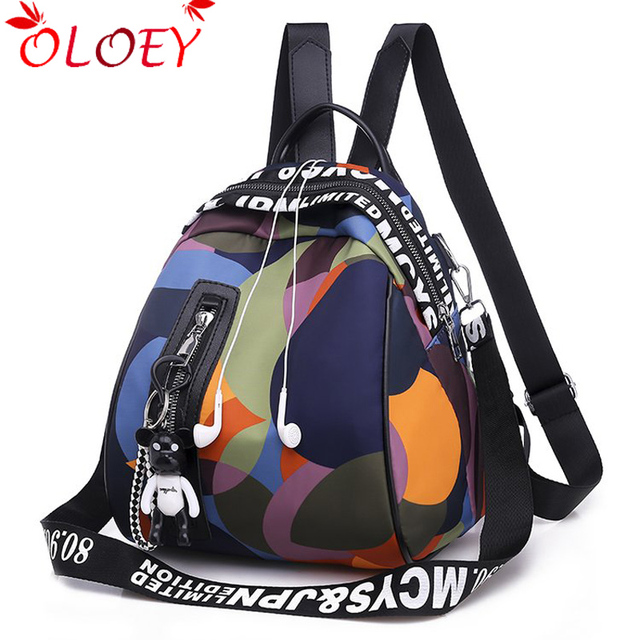 2020 new ladies bear pendant Multifunction backpack high quality youth color backpack girl casual large capacity Bags for women