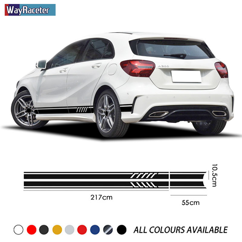 Edition 1 Car Door Side Stripes Skirt Stickers For Mercedes Benz A Class A45 AMG W176 A35 W177 V177 X117 A250 A180 Accessories image