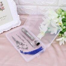 1 Set Vintage bordado tijera caja de aguja dedal para coser Awl herramientas de costura M4YD