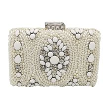 Women Evening Bags Vintage Beaded Clutch Bridal Purses Handbag Wedding Party Chain Shoulder Bag