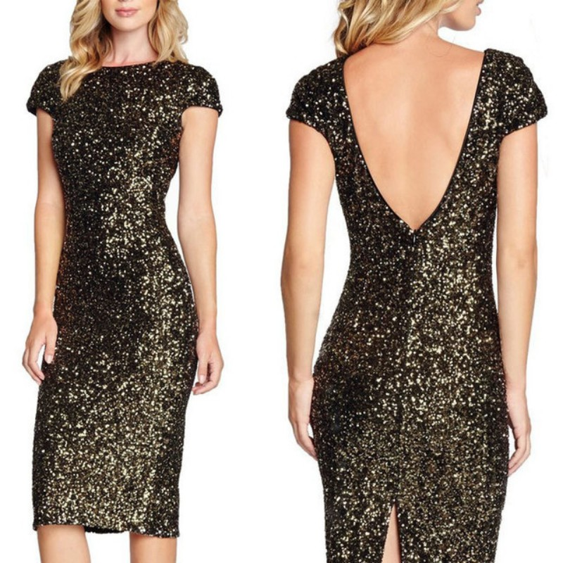 Short Sleeves Dark Gold   Cocktail     Dresses   New Fashion vestidos de coctel Sexy Women Party   Dress   Gown ESAN404