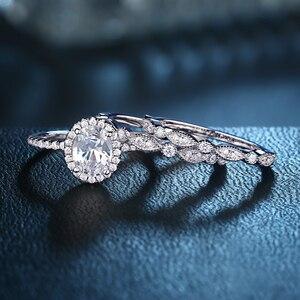 Image 2 - Newshe plata sólida 925 conjunto de anillo de compromiso de boda para mujer, circonitas de forma ovalada AAA, bandas de decoración artística, joyería clásica