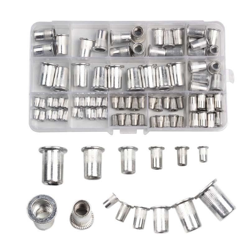 90/93Pcs Aluminum Rivet Nut M3 M4 M5 M6 M8 M10 Aluminum Alloy Rivnut Flat Head Threaded Rivet Insert Nutsert Cap Rivet Nut