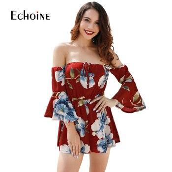 Sexy fashion Floral Print Women Jumpsuit 2019 Summer Beach Off Shoulder Body suit Casual Loose Playsuit plus size 4XL jumpsuits 4