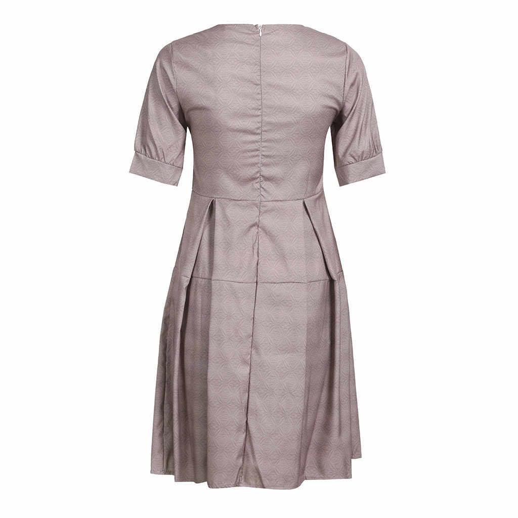Donne Elegante Midi Vestito casual Vintage Abiti di Lunghezza Del Ginocchio Ufficio Vestito Da Estate Breve vestito aderente vestido de festa longo #5s