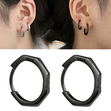 1 Pair 925 Silver Hoop Earrings for Women Round Circle Rhinestone Black Big Large 15mm Fashion Jewelry