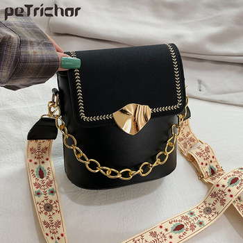 box design chinese tower print pu leather ladies bucket bag chain shoulder bag crossbody mini messenger bag for women handbag Petrichor Fashion Bucket Shoulder Bag Women Cover Crossbody Bag Female Messenger Phone Bags Ladies PU Leather Small Handbag Sac