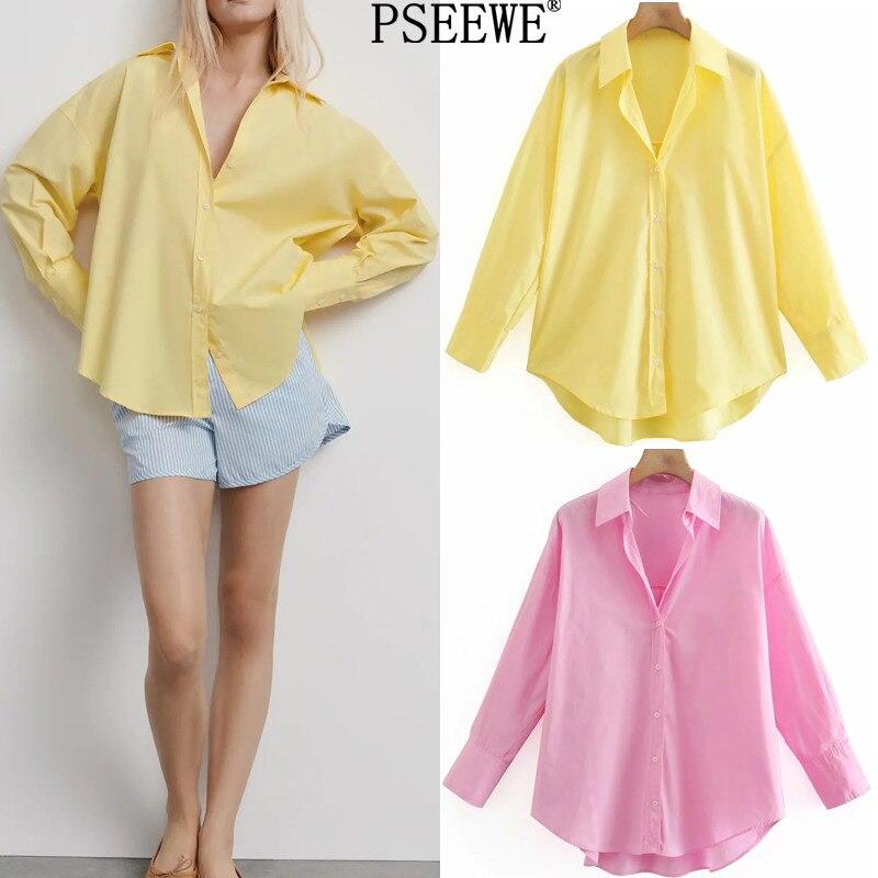 PSEEWE Za Топ женская желтая рубашка на пуговицах Женская Весенняя блузка с длинным рукавом 2021 Офисная Женская Асимметричная рубашка шикарная ...