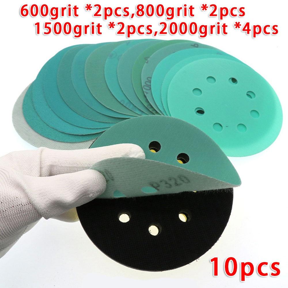 5 Inch 8 Holes Sandpaper 125mm Sanding Disc Wet & Dry Grit 600/800/1500/2000 For FESTOOL/Mocha/MIRKA Sander Grinder Sandpapers