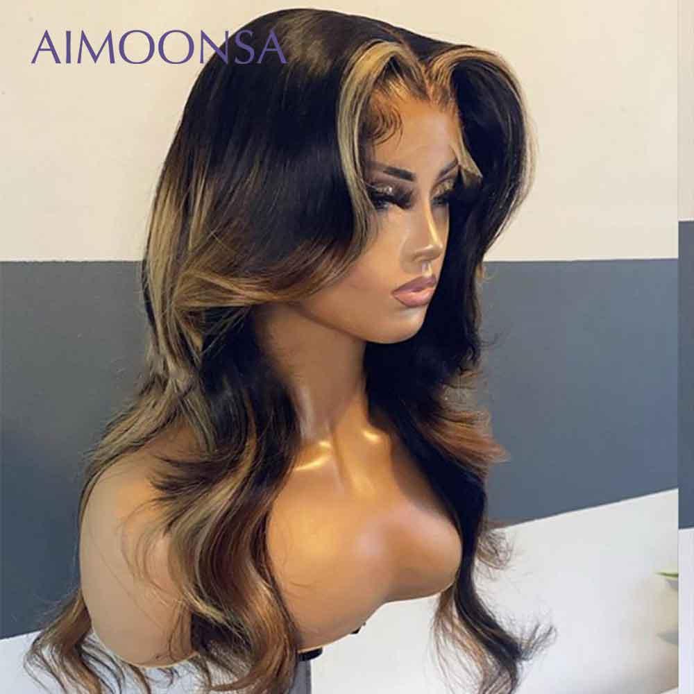 Sarışın dantel ön peruk insan saçı bal sarışın peruk vücut dalga derin brezilyalı 13x4 dantel ön İnsan saç peruk ön koparıp 130 Remy