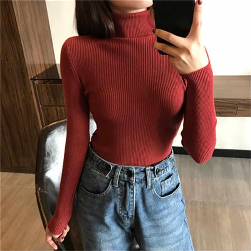 女性ニットリブプルオーバーセーター 2019 秋冬暖かいセーター厚手のタートルネックプルオーバーセーター