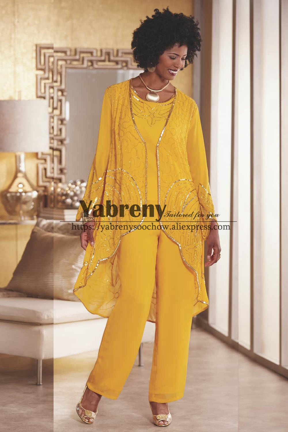 Gold Yellow Beaded Trousers Outfit Mother Of The Bride Pant Suit Wear