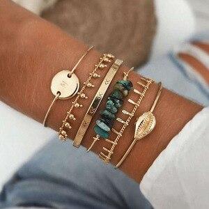 Boho Mixed Geometric Crystal Multi Layer Bracelets Adjustable Lasso Lobster Clasp Punk Bracelet For Women Jewelry Gifts