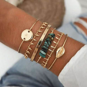 Boho Mixed Geometric Crystal Multi Layer Bracelets Adjustable Lasso Lobster Clasp Punk Bracelet For Women Jewelry Gifts