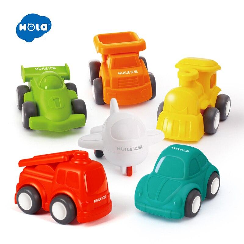HOLA TOYS 3117 bébé jouets grand Pull arrière voiture couleur bonbon roues Mini voiture et avion pour enfants cadeaux