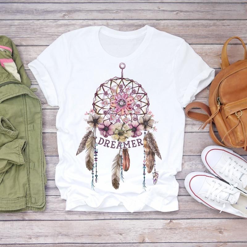 Frauen 2020 Sommer Kurzarm Traum Feder Mode Druck Dame T-shirts Top T Shirt Damen Frauen Grafik Weibliche T T-Shirt