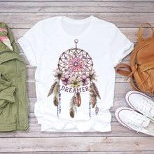 Kobiety 2020 lato z krótkim rękawem Dream Feather modny nadruk Lady t-shirty Top T Shirt damskie damskie graficzne trójnik żeński T-Shirt