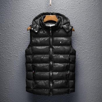 Nowych mężczyzna kamizelka kurtki ciepły gruby jesień zima na co dzień z kapturem płaszcz bez rękawów mężczyzna jednolity na zamek bluzy z kapturem dół kamizelka na świeżym powietrzu tanie i dobre opinie LINLING CN (pochodzenie) COTTON Skórzane CASHMERE zipper NONE Poliester bawełna Stałe REGULAR Luźne V-neck Kieszenie