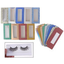 Fashion Design 10 Set 25mm Flash Blank Eyelashes Square Box For Package Paper Box Color Carton With Tray DIY Custom Logo Flash(China)