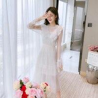 2019 New Autumn Vintage Women dress Mesh French Fairy Render Dresses White 69055