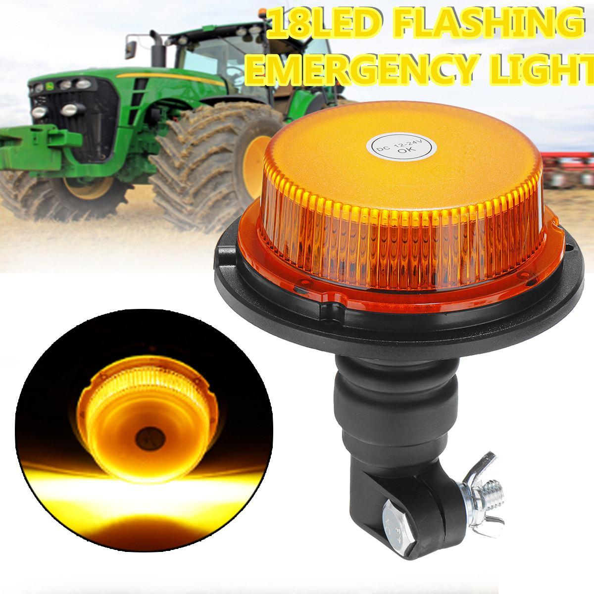 "5.2x4.7"" Inch Dome 18 LED Construction Vehicle Car Warning Strobe Light Flashing Lights Truck Emergency Light 12-24V Waterproof"