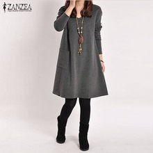 Zanzea 2021秋冬女性長袖ポケットドレス固体oネックカジュアルルーズドレスvestidosプラスサイズS-5XL