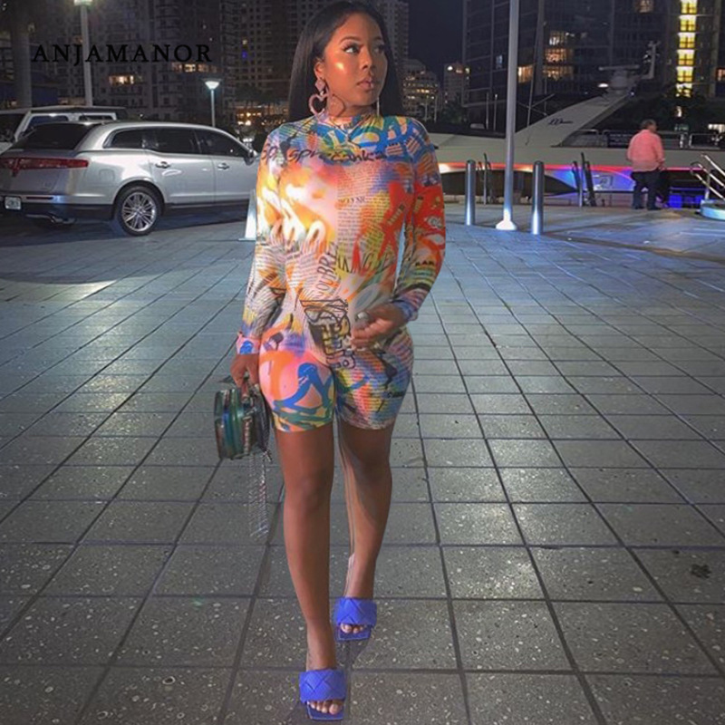 ANJAMANOR Graffiti Letter Print Sexy Shorts Romper Sheer Mesh One Piece Club Outfits Long Sleeve Bodycon Jumpsuit D37-AB83