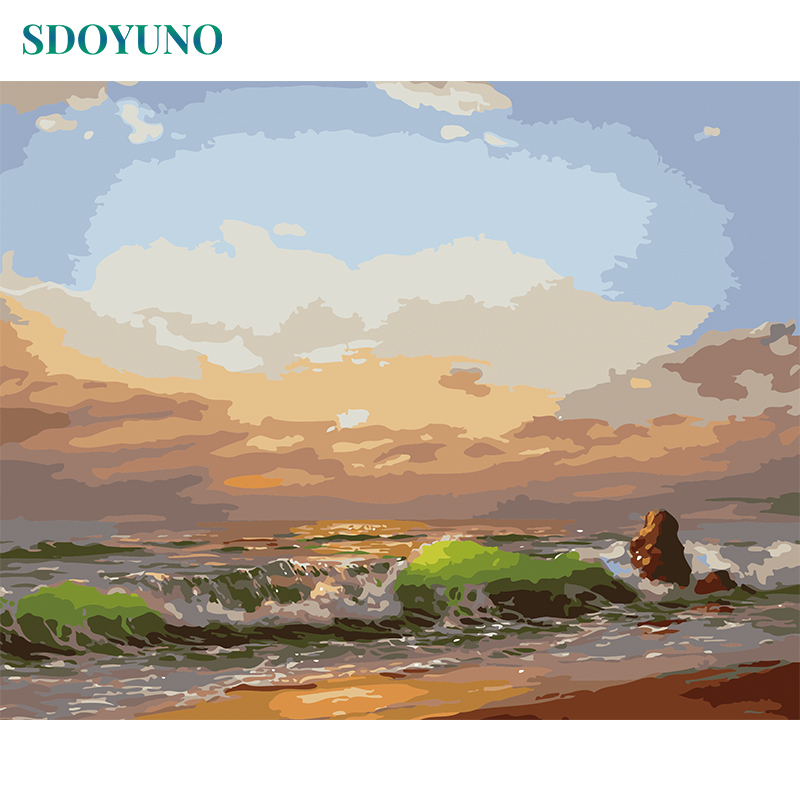 SDOYUNO Frameless Oil Painting By Numbers On Canvas  60x75cm Seascape Sunset Coloring By Numbers DIY Home Decoration
