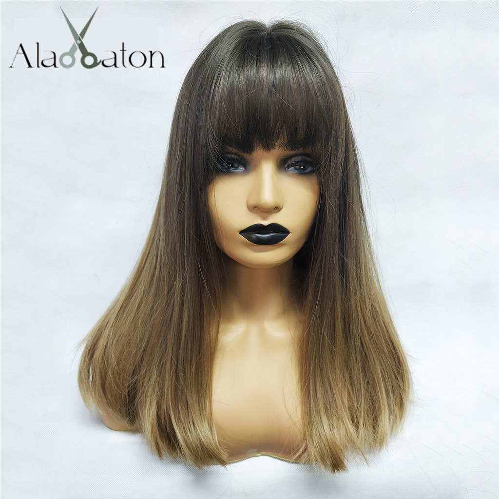 ALAN EATON Long Straight Wigs With Bangs For Black Woman Brazilian Black Ombre Brown  Hair Heat Resistant Synthetic Hair Ladies