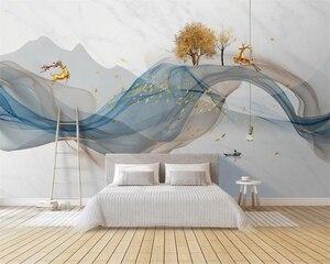Современные абстрактные линии, новые китайские чернила, пейзаж, лося, обои, домашний декор, обои