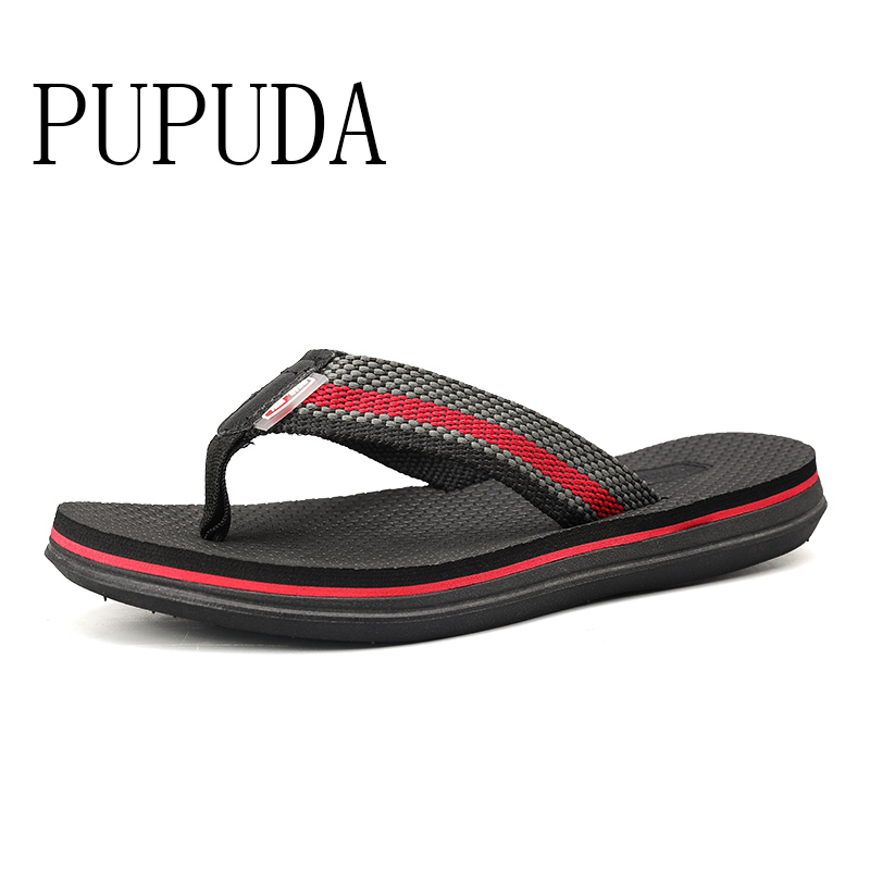 PUPUDA Summer Slippers Men Fashion Trend Beach Shoes Lightweight Comfortable Flip Flops Men Classic House Slippers Men Casual