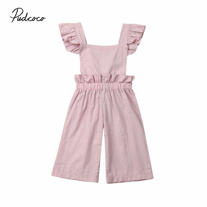 2019 Baby Summer Clothing Kids Baby Girl Overalls Wide Romper Sleeveless Ruffle Solid Romper Jumpsuit One-Pieces Sunsuit Clothes