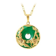 925-Silver Necklace Pendant Jewelry Charm Amulet Phoenix Dragon Green Jade Natural Chinese