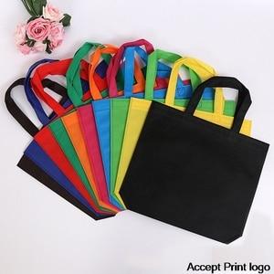 20 pieces Non Woven Bag Shopping Bags recycled ecobag blank tote bag Tote Bags Custom Make Printed Logo(China)