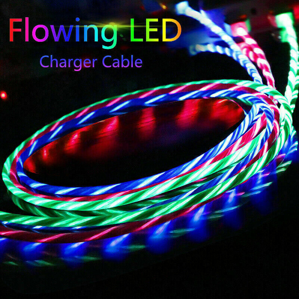 Flow Luminous Lighting USB Type C Cable For Samsung Galaxy S10 Note 10 S9 Plus Fast Charging Charge USB-C Type-C Wire Phone Lead image