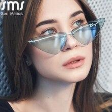 Rimless Women Sunglasses 2021 Cat Eye Sun Glasses Female Luxury Brand Designer Vintage Sunglasses Wholesale Gafas De Sol