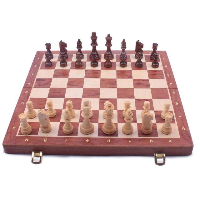 Jeu d'échecs pliant en bois noyer et noyer, grand jeu d'échecs de haute qualité, pièces en bois massif, taille roi : 8CM plateau 39 cm 1