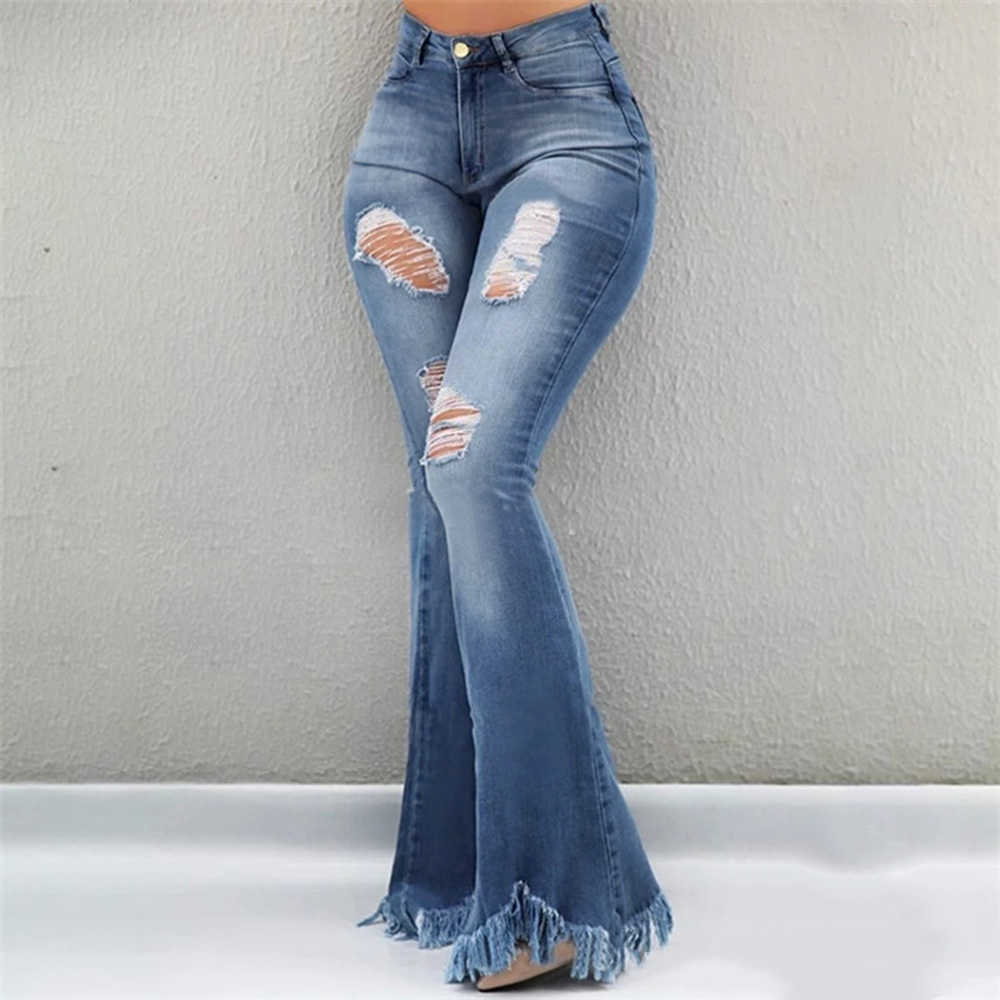 Monerffi Vaqueros Acampanados Para Mujer Pantalones Ajustados De Cintura Alta Con Flecos Vaqueros Elasticos Para Mujer Vaqueros De Pierna Ancha Con Campana Pantalones Vaqueros Aliexpress